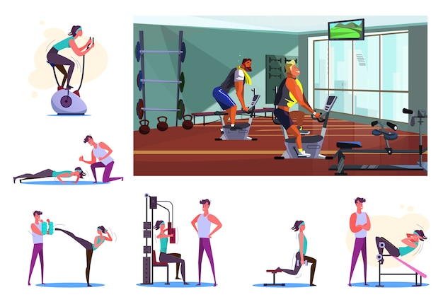 Set of sportsmen during workout at gym