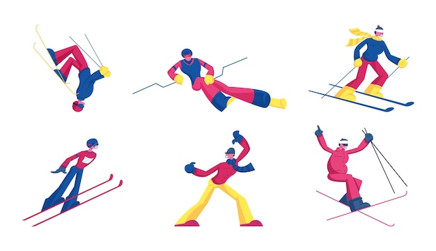 Set of sportsmen freestyle skiing jump. winter sport activity combine skiing and acrobatics stunts. cartoon flat illustration