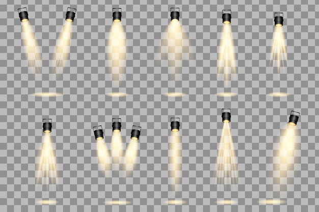 Set of spotlight isolated on transparent background. scene illumination collection, transparent effects. bright lighting with spotlights.