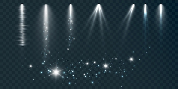 Set of spotlights on a black background with smoke and sparks vector illustration