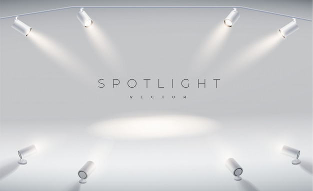 Set spotlights realistic with bright white light shining stage.