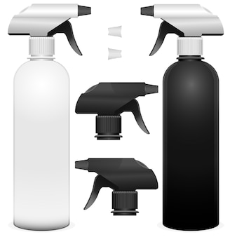 Set of spray bottles with detalies. realistic