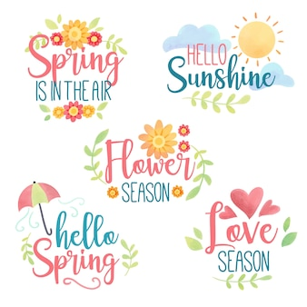 Set of spring badges in watercolor