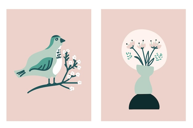 Set of spring card with bird on blossom brunch and vase of flowers