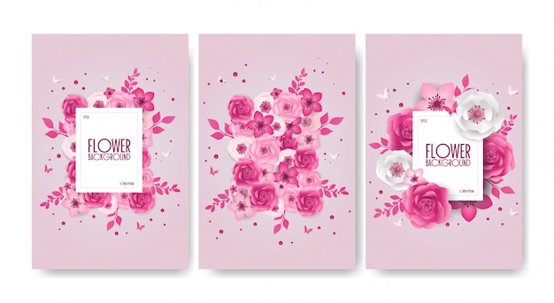 Set of spring festive flowers design, decorations, paper cut style banner with flower, butterfly.