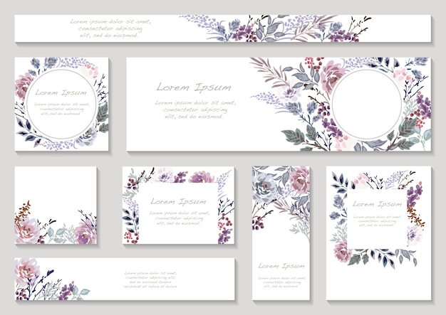 Set of spring flower frame with text space isolated