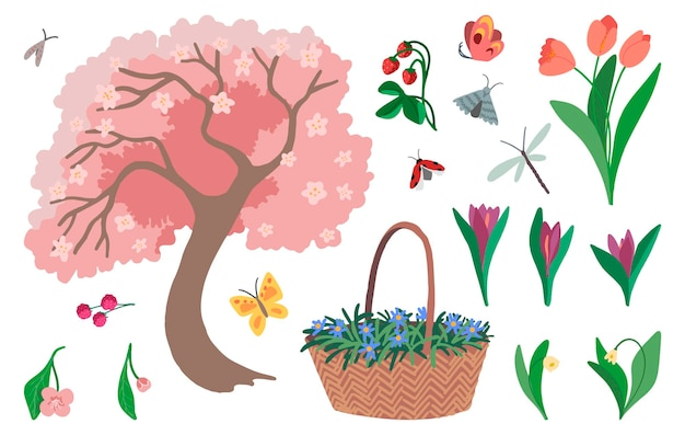 Set of spring garden isolated on white. drawings of blooming tree, flowers, plants, insects, berries. hand drawn vector illustrations. colored cartoon doodles. elements for design, print, stickers.