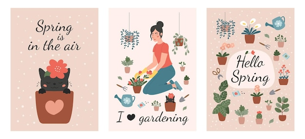 Set of spring gardening greeting cards. plant lady with flowers, watering can and garden tools.