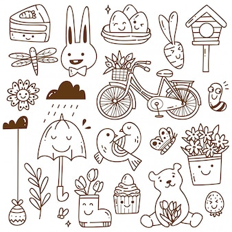 Set of spring related object in kawaii doodle style