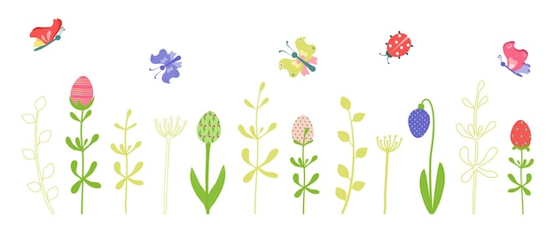 Set of spring and summer decorative elements and icons with happy easter eggs in the form of flowers, twigs and butterflies. vector flat illustration for march, april holiday