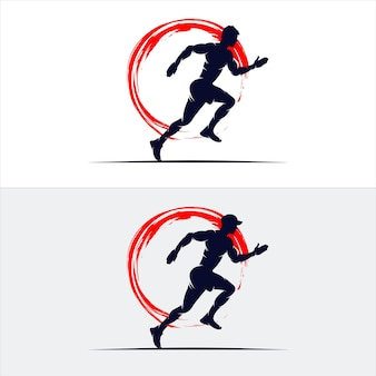 Set of sprint running athletics marathon logo design template