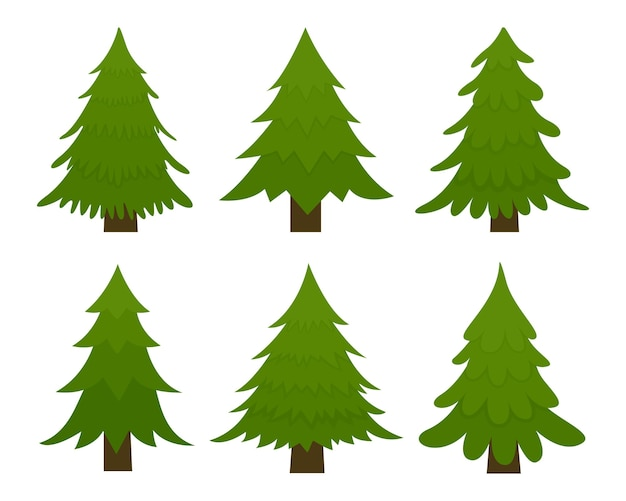 Set of spruces. fir trees isolated