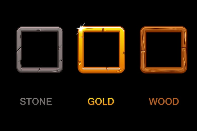 Set of square app icons, texture frames isolated on black background, elements for ui game or web design