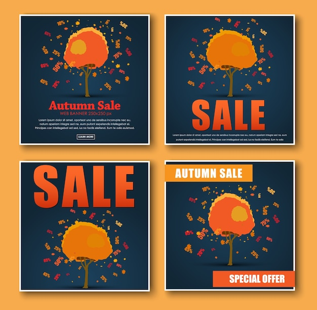 Set of square banner for autumn sale