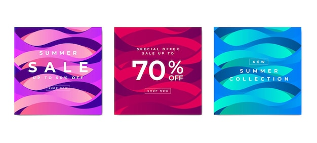 Set of square banner template for social media post and web internet ads.