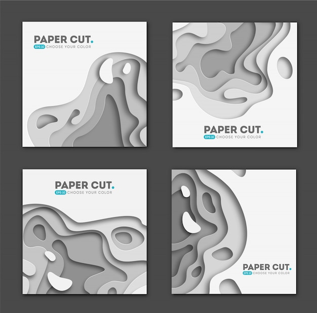Set of square banner templates with paper cut shapes