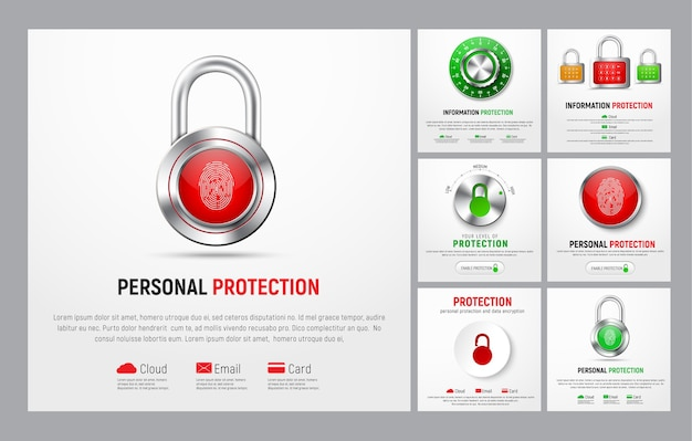 Set of square banners to protect information. web templates with padlock, button with a fingerprint, mechanical lock and a level controller for the cloud, mail and bank cards.