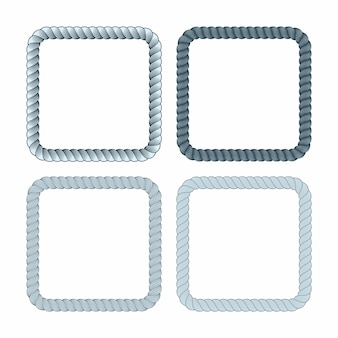 Set of square black monochrome rope frame. collection of thick and thin borders isolated
