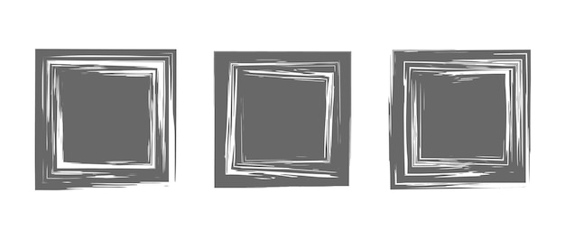 Set of square brush strokes hand drawn paint frames for logo banner card design