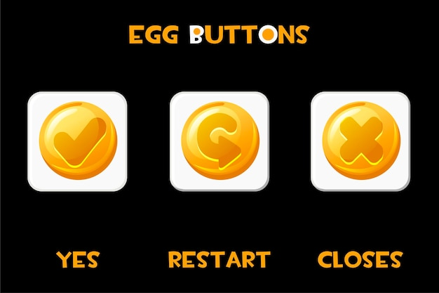 Set of square buttons eggs restart, closes and yes. isolated gold white buttons for game menu.
