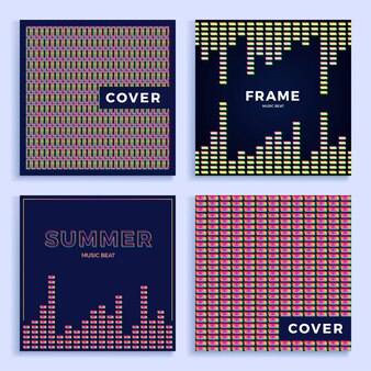 Set square colorful abstract music equalizer   pattern for poster or cover.