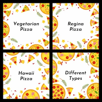 Set of square frames. different types of christmas pizza.