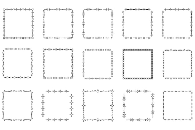 Set of square frames and monograms. collection decorative square borders. abstract doodle. doodle logo design elements. template labels, stickers, cards. vector illustration.