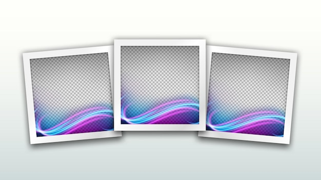 Set of square frames template with wave light effect