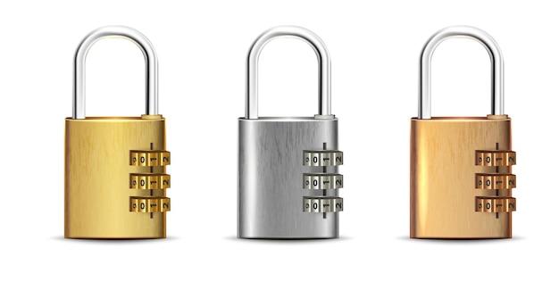 Set of square golden silver bronze padlock