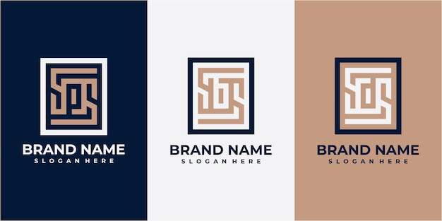 Set of square letter logo design. ps logo. sb logo. sd logo. square line logo design