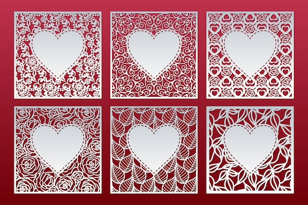 Set of square panel templates with pattern and heart inside, valentine card design.
