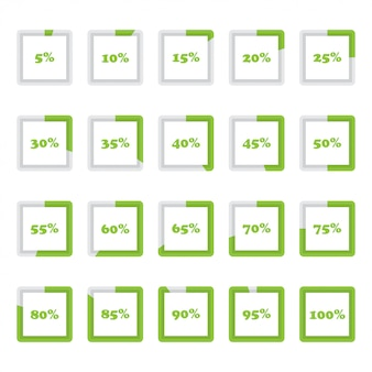 Set of square percentage diagrams from 5 to 100 for infographics