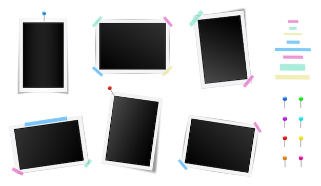 Set of square photo frame with shadows.