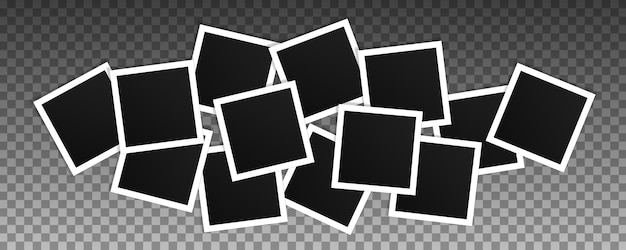 Set of square photo frames. collage of realistic frames isolated