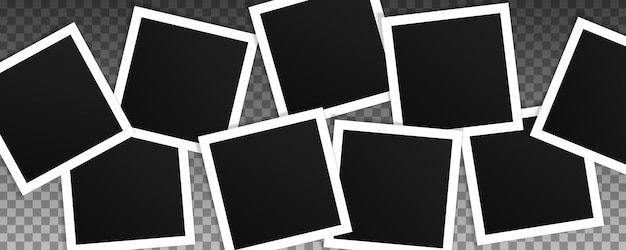 Set of square photo frames. collage of realistic frames