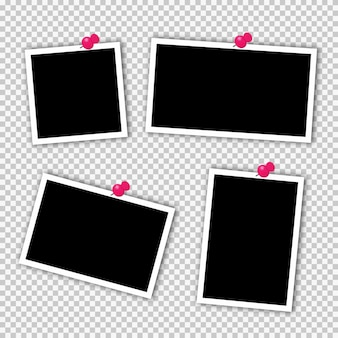 Set of square photo frames on sticky tape, pins.