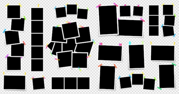 Set of square photo frames on sticky tape vector illustration isolated on transparent background