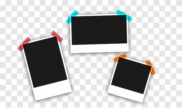 Set of square photo frames .