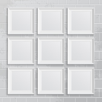 Set of square picture frames on brick wall.  illustration