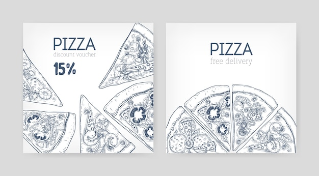 Set of square promotional coupon or discount voucher templates with pizza hand drawn with contour lines