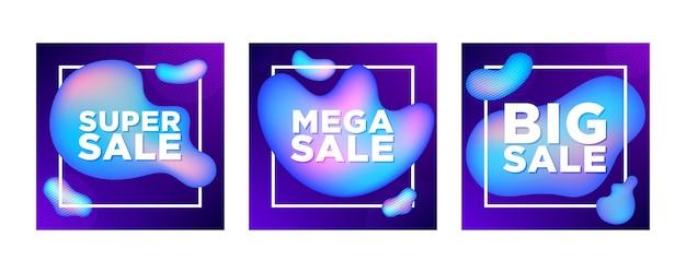 Set di banner di vendita quadrati per i social media