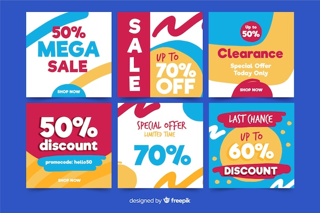 Set of square sale banners for promotion on instagram or social media