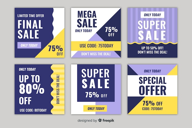 Set of square sales banner design for instagram