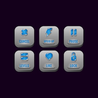 Set of square stone buttons with jelly icons for game ui asset elements