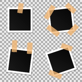 Set of square vector photo frames.