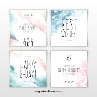 Set of square watercolour birthday cards Premium Vector