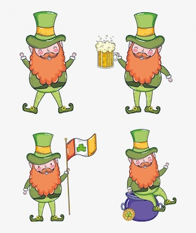 Set st patrcik man with beer glass and ireland flag