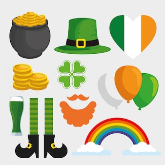 Set st patrick day decoration for celebration