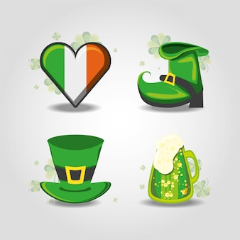 Set of st patrick day hat, boot, beer and heart