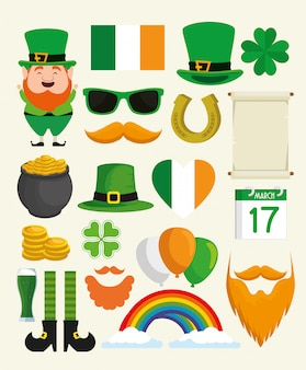 Set st patrick day traditional element